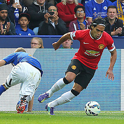Manchester United's Radamel Falcao on the ball and attacking during the Barclays Premiership match between Leicester City FC and Manchester United FC, at the King Power Stadium, Leicester, 21st September 2014 © Phil Duncan | SportPix.org.uk