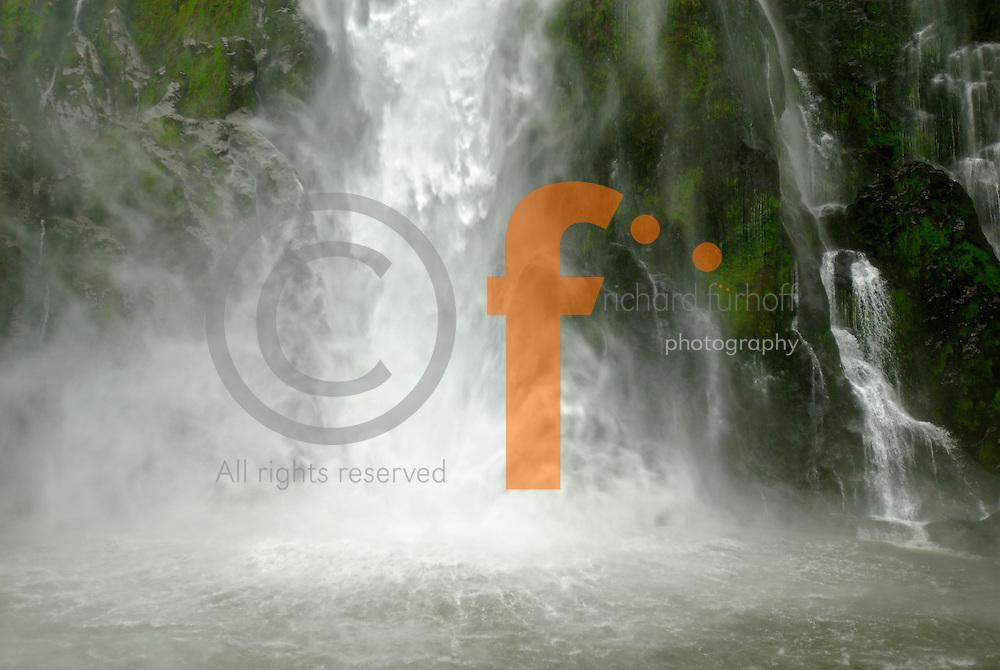 Richard Furhoff 100101_NewZealand_DSC4513.tif .Waterfall, Milford Sound. Fiordlands National Park. New Zealand..