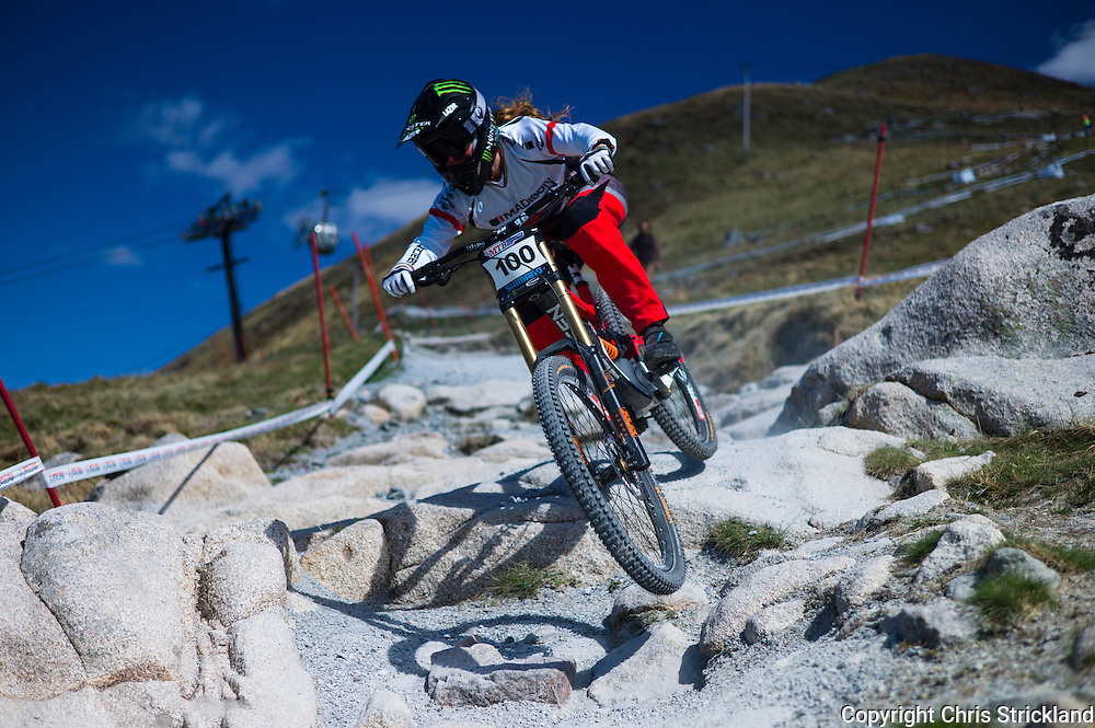 Nevis Range, Fort William, Scottish Highlands, UK. 14th May 2016. Welsh rider Manon Carpenter competes in the British Downhill Series on Nevis Range in the Scottish Highlands.