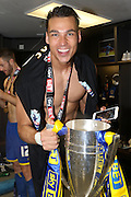 Kelle Roos Goalkeeper for AFC Wimbledon (29) celebrates as AFC Wimbledon win promotion to league 1after the Sky Bet League 2 play off final match between AFC Wimbledon and Plymouth Argyle at Wembley Stadium, London, England on 30 May 2016. Photo by Stuart Butcher.