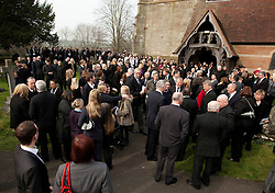 © Licensed to London News Pictures.2/3/2012. Alvechurch, Worcestershire. The funeral of teacher Peter Rippington took place earlier today in the village where he taught. The 59-year-old died of multiple injuries at the scene of the crash on the A26 in France on February 19. Pictured, over a thousand people paid tribute to the popular teacher in the village of Alvechurch. Photo credit : Dave Warren/LNP