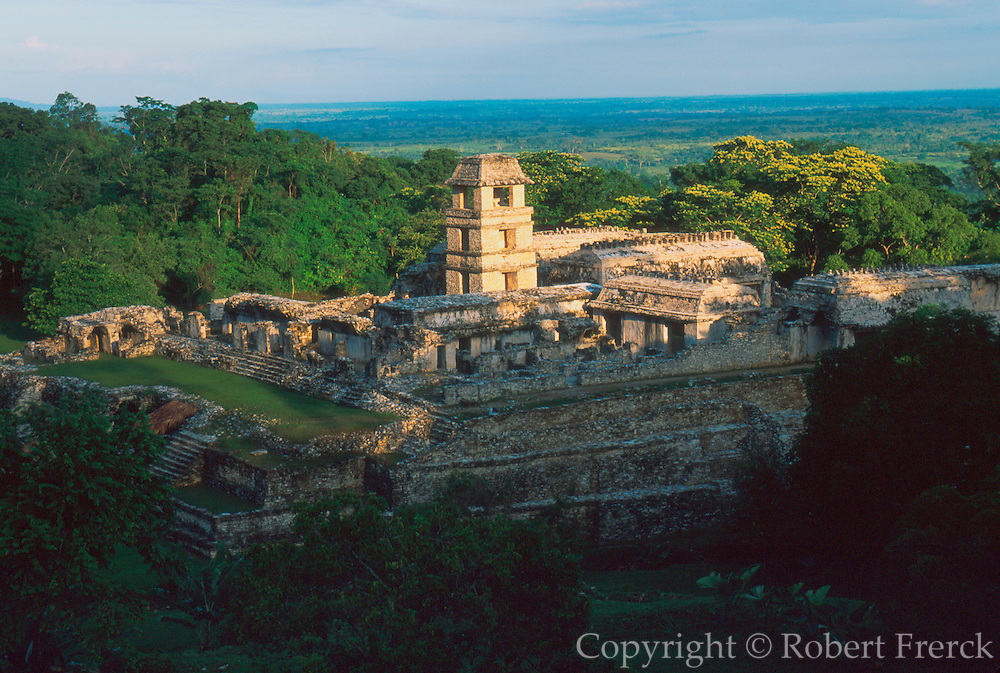MEXICO, MAYAN CULTURE, CHIAPAS STATE Palenque, late classic period, 600-900AD the Palace complex with tower thought to be an observatory