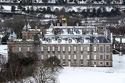 View of Palace of Holyroodhouse in the snow, Edinburgh, Scotland, United Kingdom