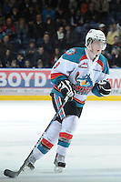 KELOWNA, CANADA - FEBRUARY 18: Zach Franko #9 of the Kelowna Rockets skates on the ice against the Red Deer Rebels at the Kelowna Rockets on February 18, 2012 at Prospera Place in Kelowna, British Columbia, Canada (Photo by Marissa Baecker/Shoot the Breeze) *** Local Caption ***
