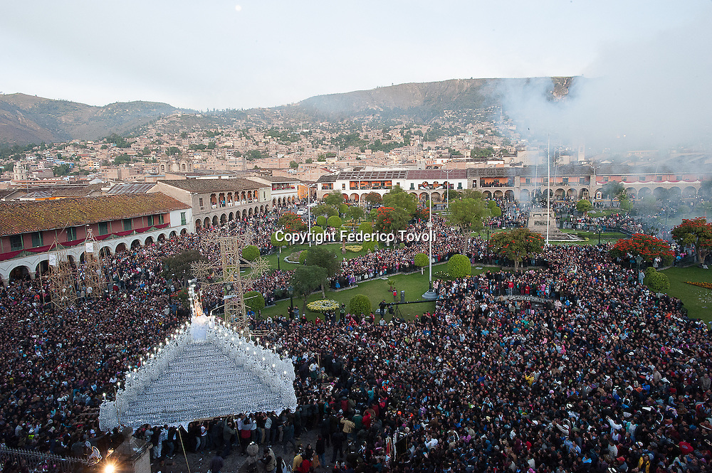 "Peru, Ayacucho. Holy Week. The latest ""anda"" of Holy Week comes out in the dawn of Easter Sunday"