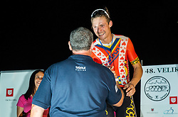 Matjaz Zevnik and  Aldo Ino Ilesic of Astellas Cycling Team at Trophy ceremony after the cycling race Night Criterium - Kranj 2016, on July 30, 2016 in Kranj, Slovenia. Photo by Vid Ponikvar / Sportida