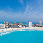 Aerial View of Punta Cancun in the hotel zone.<br /> Cancun, Quintana Roo. Mexico