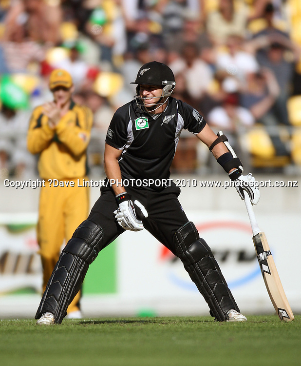 NZ's Nathan McCullum grins at batting partner Daryl Tuffey.<br /> Fifth Chappell-Hadlee Trophy one-day international cricket match - New Zealand v Australia at Westpac Stadium, Wellington. Saturday, 13 March 2010. Photo: Dave Lintott/PHOTOSPORT