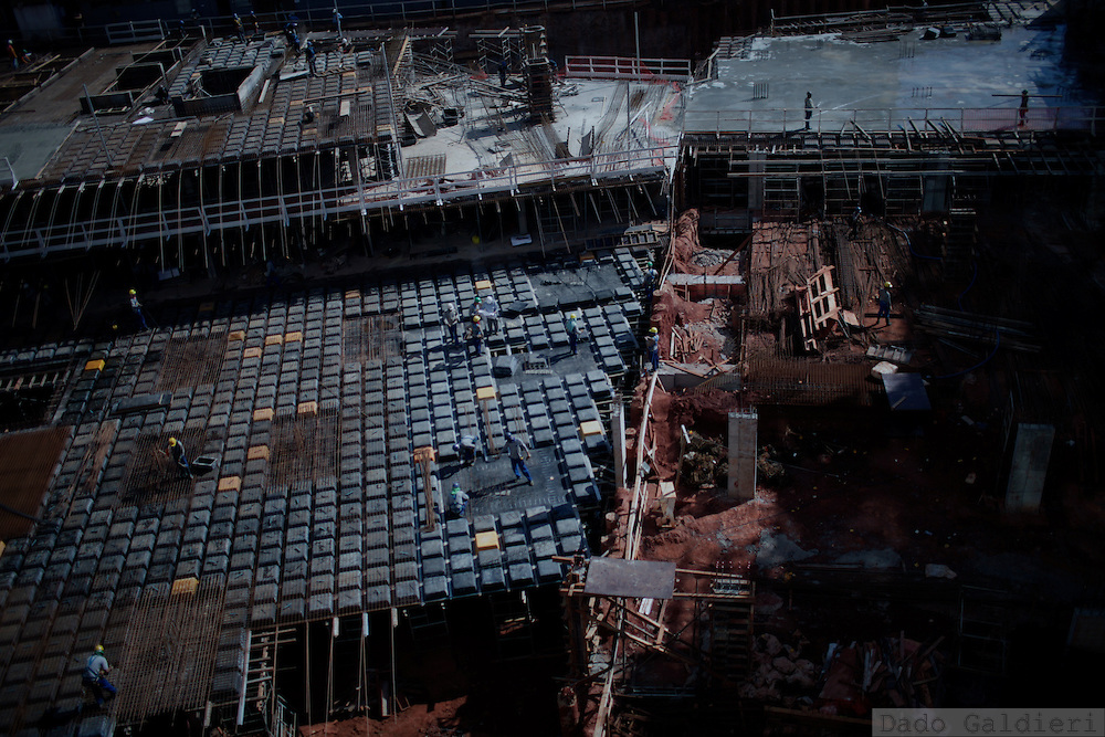 Construction workers build the foundations of new hotels in the  northern part of Brasilia, Brazil, Thursday, Feb. 9, 2012. (Photo Dado Galdieri)