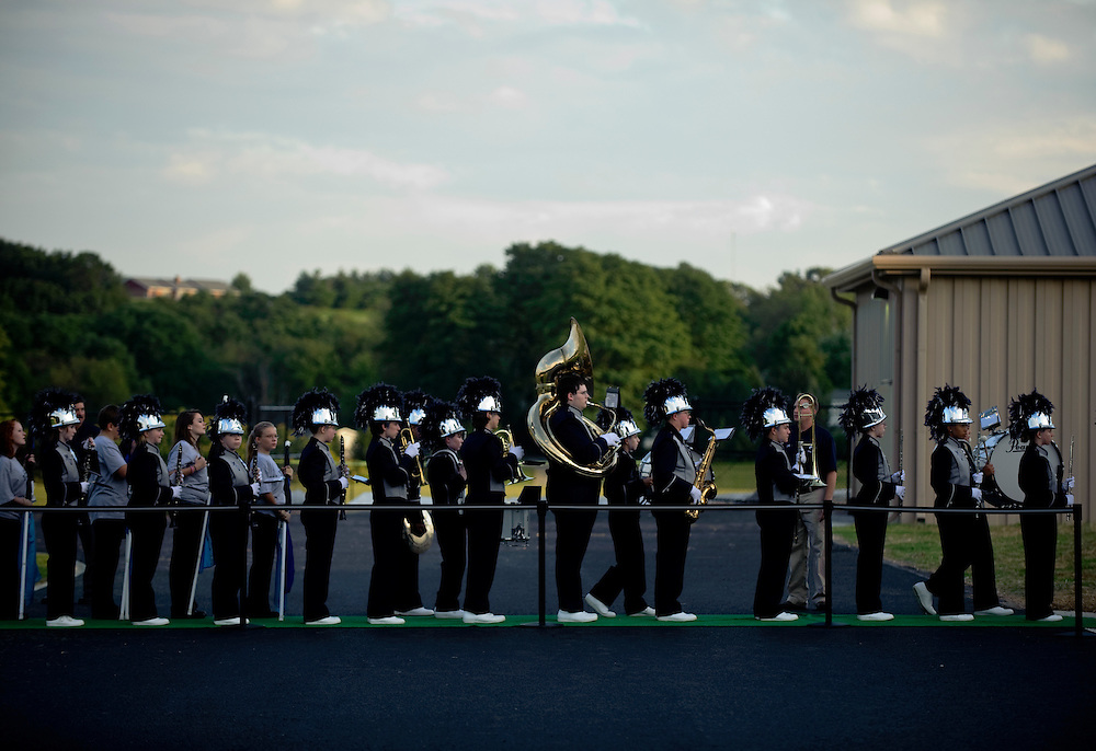 (staff photo by Matt Roth)..The Manchester Valley marching band lines up to leave the field after playing the National Anthem before the first varsity football game against the Clear Spring Blazers Friday, September 4, 2009. The Mavericks lost 6-28.
