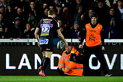 Gareth Steenson of Exeter Chiefs kicks the ball out of play to finish the game - Mandatory by-line: Ryan Hiscott/JMP - 29/12/2019 - RUGBY - Sandy Park - Exeter, England - Exeter Chiefs v Saracens - Gallagher Premiership Rugby