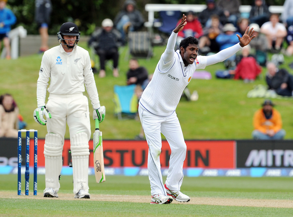 Sri Lanka's Angelo Mathews unsuccessfully appeals the wicket of New Zealand's Martin Guptill on day three of the first International Cricket Test, University Cricket Oval, Dunedin, New Zealand, Saturday, December 12, 2015. Credit:SNPA / Ross Setford