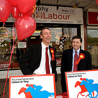 Secretary of State for International Development and MP for Paisley South Douglas Alexander(right)  joined Scottish Secretary Jim Murphy (left) as he campaign for votes in Barrhead. Mr Murphy is trying to hold his seat against a strong challenge from the Conservatives.   Picture Christian Cooksey.