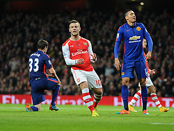 Arsenal's Jack Wilshere reacts to coming close to scoring. - Photo mandatory by-line: Alex James/JMP - Mobile: 07966 386802 - 22/11/2014 - Sport - Football - London - Emirates Stadium - Arsenal v Manchester United - Barclays Premier League