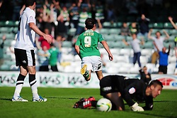 Yeovil Town's James Hayter celebrates his goal - Photo mandatory by-line: Dougie Allward/Josephmeredith.com  - Tel: Mobile:07966 386802 01/09/2012 - SPORT - FOOTBALL - League 1 -  Yeovil  - Huish Park -  Yeovil Town v Doncaster Rovers
