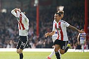 Brentford midfielder Jota (23) celebrates his second goal (score 3-1) during the EFL Sky Bet Championship match between Brentford and Queens Park Rangers at Griffin Park, London, England on 22 April 2017. Photo by Andy Walter.