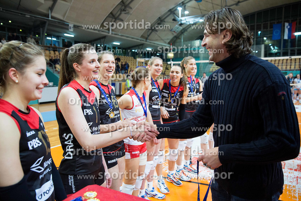 Iza Mlakar of OK Nova KBM Branik celebrate after winning during final match of MEVZA League 2014/15 against Calcit Volley, on February 20, 2015 in Dvorana Lukna, Maribor, Slovenia. Photo by Vid Ponikvar / Sportida