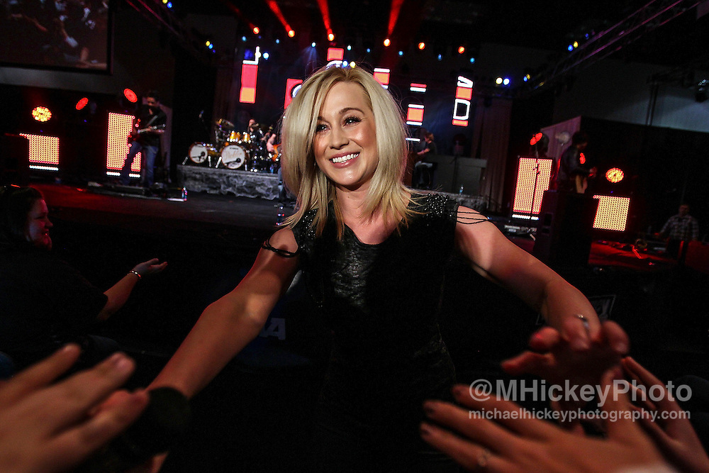 Country music artist Kellie Pickler performs at Tourney Town in the Indiana Convention Center during the NCAA women's Final Four weekend in Indianapolis, Indiana.<br /> By Michael Hickey, concert photography