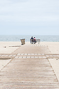 Photo Santa Monica beach wall art. Wooden walkway, blue sky and sea, people at the sand. Los Angeles, Westside, Southern California ocean landscape photography. Matted print, limited edition. Fine art photography print.