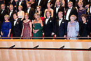 29-11-2016 AMSTERDAM  - contraprestatie Concert aangeboden door de Koning Filip and koningin mathilde en koning Maxima en koning willem Alexander tijdens dag 2 van het Staatsbezoek aan Nederland. Staatsbezoek aan Nederland van Ko in het muziekgebouw Prinses Beatrix, Prins Constantijn, Prinses Laurentien, Prinses Margiet en de heer Van Vollenhoven  tijdens dag 2 van het Staatsbezoek aan Nederland van Koning Filip der Belgen vergezeld door Koningin Mathilde. Koning Willem Alexander en koningin Maxima. COPYRIGHT ROBIN UTRECHT<br /> <br /> 29-11-2016 AMSTERDAM - dinner and group picture contraprestatie Concert offered by the King Philippe and Queen Mathilde and King Maxima and King William Alexander during day two of the state visit to the Netherlands. State Visit to Netherlands Ko in the music building, Princess Beatrix, Prince Constantijn and Princess Laurentien, Princess Margriet and Mr. van Vollenhoven during day two of the state visit to the Netherlands of King of the Belgians Filip accompanied by Queen Mathilde. King Willem Alexander and Queen Maxima. COPYRIGHT ROBIN UTRECHT