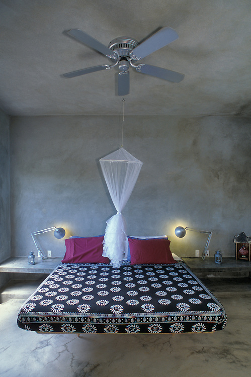 Bedroom at Hix Island House, a luxury inn designed by architect John Hix; Vieques Island, Puerto Rico.