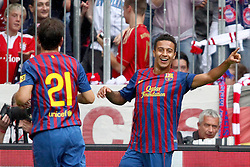26.07.2011, Allianz Arena, Muenchen, GER, Audi Cup 2011,  FC Barcelona vs SC Internacional de Porto Alegre, im Bild jubel nach seinem Tor zum 1-0 Thiago (Barcelona #4) und Adriano (Barcelona #21)   // during the Audi Cup 2011,  FC Barcelona vs SC Internacional de Porto Alegre , on 2011/07/26, Allianz Arena, Munich, Germany, EXPA Pictures © 2011, PhotoCredit: EXPA/ nph/  Straubmeier       ****** out of GER / CRO  / BEL ******