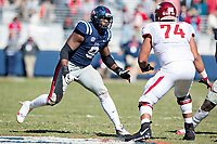 OXFORD, MS - OCTOBER 28:  Breeland Speaks #9 of the Ole Miss Rebels rushes the quarterback during a game against the Arkansas Razorbacks at Hemingway Stadium on October 28, 2017 in Oxford, Mississippi.  The Razorbacks defeated the Rebels 38-37.  (Photo by Wesley Hitt/Getty Images) *** Local Caption *** Breeland Speaks