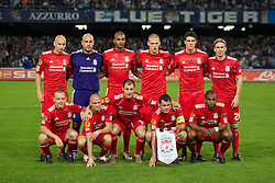 NAPELS, ITALY - Thursday, October 21, 2010: Liverpool players line-up before the UEFA Europa League Group K match against SSC Napoli at the Stadio San Paolo. Back row L-R: Jonjo Shelvey, goalkeeper Pepe Reina, David Ngog, Martin Skrtel, Martin Kelly, Christian Poulsen. Front row L-R: Jay Spearing, Paul Konchesky, Milan Jovanovic, captain Jamie Carragher, Ryan Babel. (Pic by: David Rawcliffe/Propaganda)