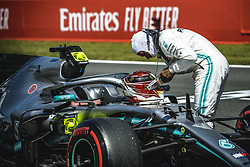 May 11, 2019 - Barcelona, Catalonia, Spain - LEWIS HAMILTON (GBR) from team Mercedes gets out of his W10 after ending second in the qualifying session of the Spanish GP at Circuit de Catalunya (Credit Image: © Matthias Oesterle/ZUMA Wire)
