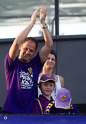 Ante Simundza, assistant coach of Maribor celebrates at Trophy ceremony after the football match between NK Maribor and NK Domzale of 36th - Last Round of 1st Slovenian football league PrvaLiga, on May 29, 2011 in Stadium Ljudski vrt, Maribor, Slovenia. (Photo By Vid Ponikvar / Sportida.com)