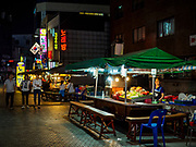 "13 JUNE 2018 - SEOUL, SOUTH KOREA: Korean restaurants on Namdaemun-ro 1-gil in central Seoul. The street is close to several office complexes in downtown Seoul and the restaurants and bars are popular with South Korean ""salary men.""       PHOTO BY JACK KURTZ"