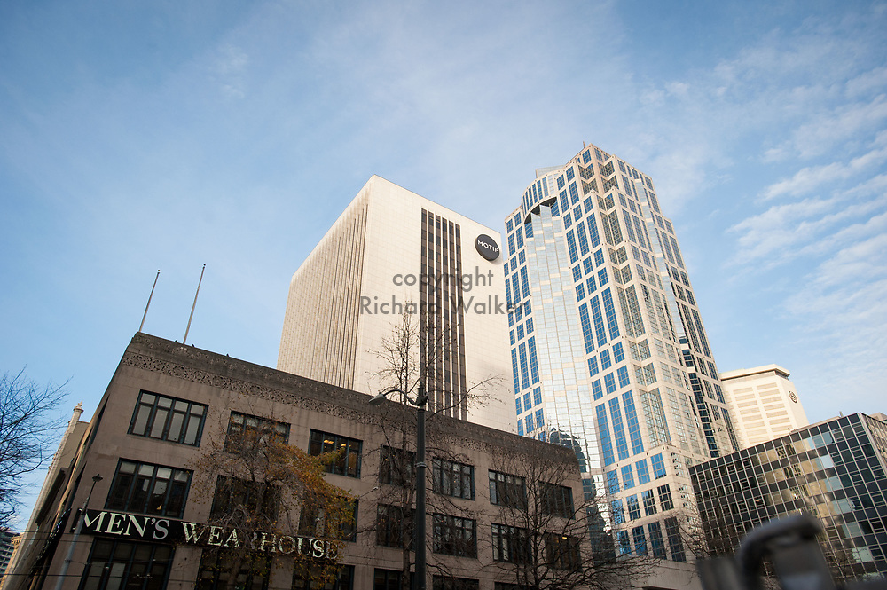 2017 DECEMBER 12 - Men's Wearhouse, Motif Hotel, and US Bank Center building seen from intersection of 4th Ave and Union St., downtown Seattle, WA, USA. By Richard Walker