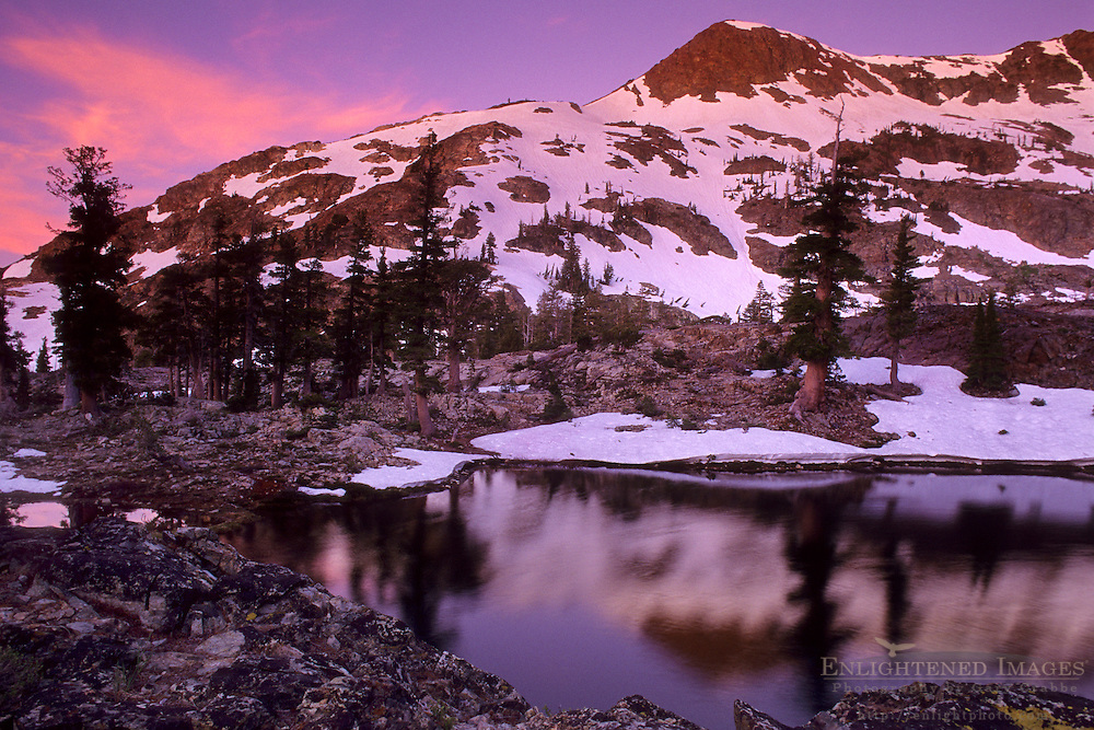 Dawn light on Jacks Peak, Desolation Wilderness, Tahoe Sierra Nevada mountains, California