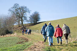 Group of people walking in the countryside