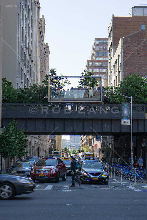 view of the High Line in New York City from Street level