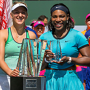March 20 , 2016, Palm Springs, CA:<br /> Trophy presentation following the women's finals match between Victoria Azarenka and Serena Williams during the 2016 BNP Paribas Open at the Indian Wells Tennis Garden in Indian Wells, California Sunday, March 20, 2016.<br /> (Photos by Billie Weiss/BNP Paribas Open)