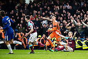 West Ham  (7) Marko Arnautović  denies penalty  during the Premier League match between Chelsea and West Ham United at Stamford Bridge, London, England on 8 April 2018. Picture by Sebastian Frej.