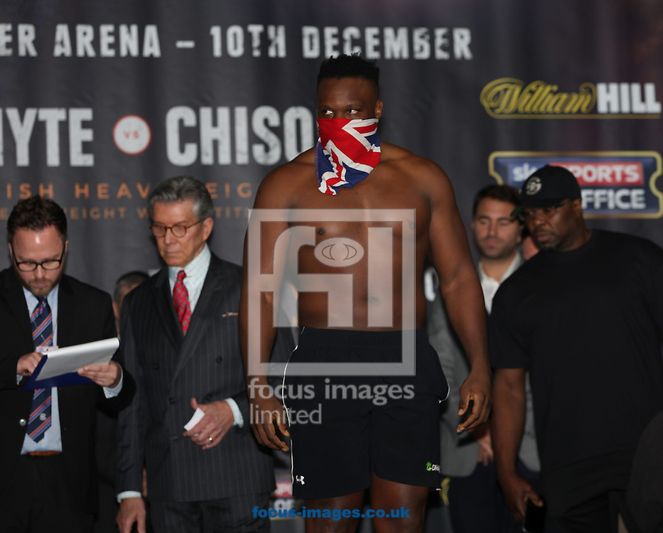 Dereck Chisora during the weigh in for the Joshua v Molina IBF Heavyweight title fight at Victoria Warehouse, Manchester<br /> Picture by James Wilson/Focus Images Ltd 07709 548263<br /> 09/12/2016