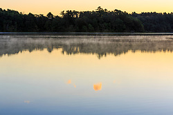 Great South Pond at dawn in Plymouth, Massachusetts. The Wildlands Trust's Cortelli Preserve. Dawn.