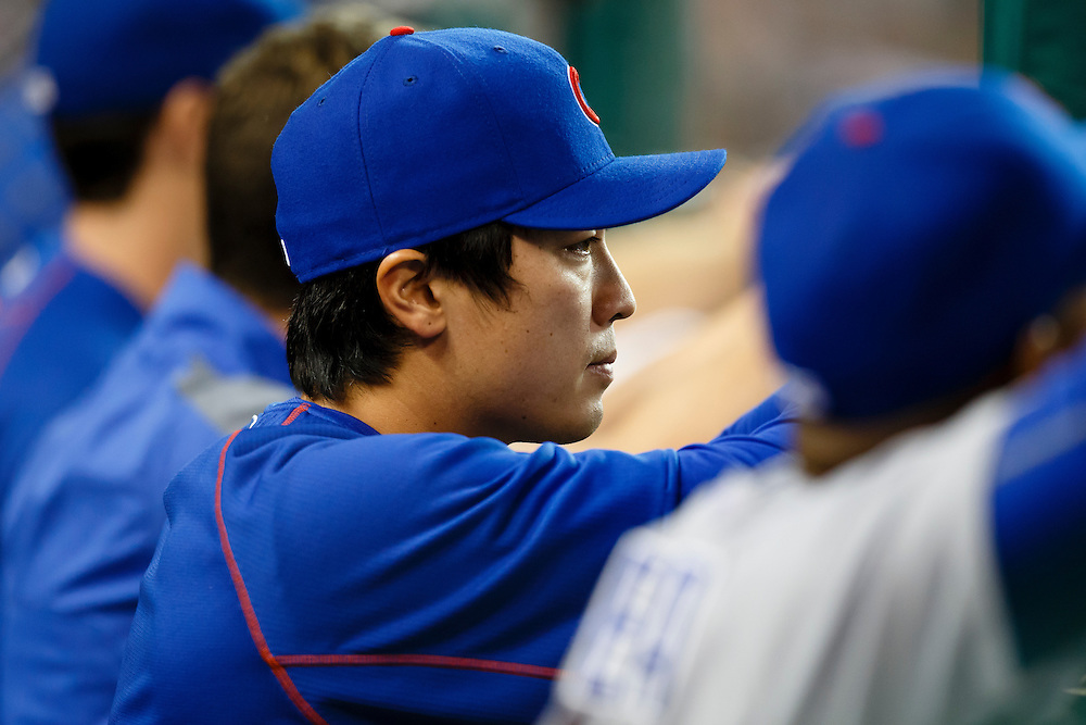 Jun 9, 2015; Detroit, MI, USA; Chicago Cubs starting pitcher Tsuyoshi Wada (18) watches from the dugout in the sixth inning against the Detroit Tigers at Comerica Park. Mandatory Credit: Rick Osentoski-USA TODAY Sports