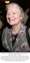 Writer P D JAMES at a reception in London on 10th April 2001.ONA 67