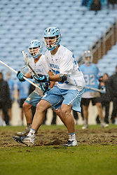 CHAPEL HILL, NC - FEBRUARY 23: Kevin Walker #50 of the North Carolina Tar Heels during a game against the Johns Hopkins Blue Jays on February 23, 2019 at Kenan Stadium in Chapel Hill, North Carolina. Hopkins won 11-10. (Photo by Peyton Williams/US Lacrosse)