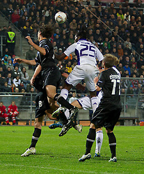 20.10.2011, UPC Arena, Graz, AUT, UEFA Europa League, Sturm Graz (AUT) vs RSC Anderlecht (BEL), im Bild Thomas Burgstaller (SK Sturm Graz, #13, Defense) und Martin Ehrenreich (SK Sturm Graz, #17, Defense) klaeren vor Dieudonne Mbokani Bezua (RSC Anderlecht, Offense, #25) // during UEFA Europa League football game between Sturm Graz (AUT) and RSC Anderlecht (BEL) at UPC Arena in Graz, Austria on 20/10/2011. EXPA Pictures © 2011, PhotoCredit: EXPA/ E. Scheriau