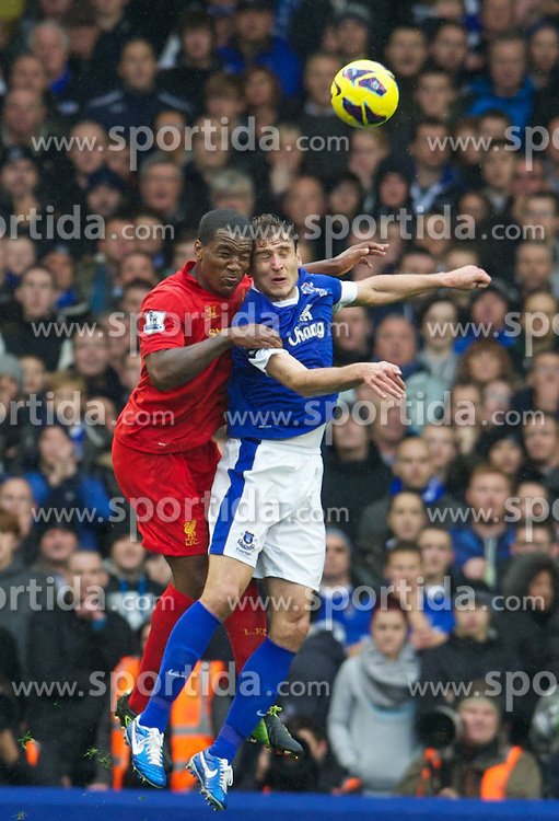 28.10.2012, Goodison Park, Liverpool, ENG, Premier League, FC Everton vs FC Liverpool, 9. Runde, im Bild Liverpool's Andre Wisdom in action against Everton's Nikica Jelavic during the English Premier League 9th round match between Everton FC and Liverpool FC at the Goodison Park, Liverpool, Great Britain on 2012/10/28. EXPA Pictures © 2012, PhotoCredit: EXPA/ Propagandaphoto/ David Rawcliffe..***** ATTENTION - OUT OF ENG, GBR, UK *****