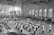 Young Men's Christian Association (YMCA) gymnasium, Longacre, London, opened by the Prince of Wales, 16 June 1888.  Men exercising using various apparatus. Wood engraving.