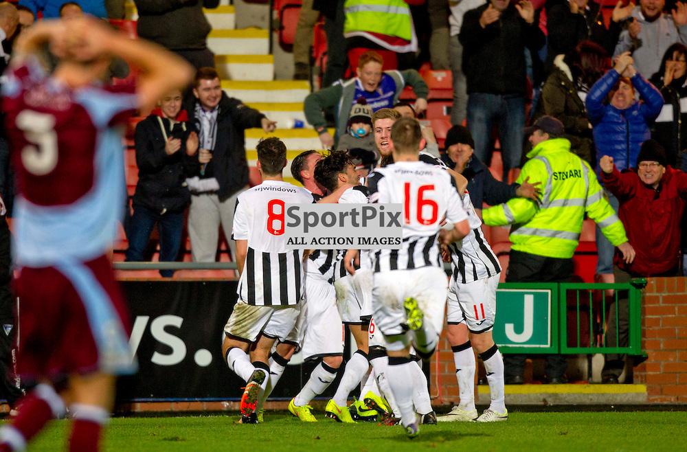 Dunfermline Athletic v Stenhousemuir SPFL League One Season 2015/16 East End Park 19 December 2015<br /> Shaun Rooney celebrates the winning goal<br /> CRAIG BROWN | sportPix.org.uk