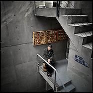 Architect, Tadao Ando in is Osaka studio.  Japan.