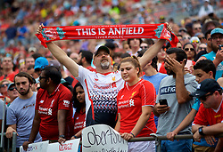 CHARLOTTE, USA - Sunday, July 22, 2018: A Liverpool supporter with a This Is Anfield scarf before a preseason International Champions Cup match between Borussia Dortmund and Liverpool FC at the  Bank of America Stadium. (Pic by David Rawcliffe/Propaganda)