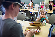 Second Harvest Food Bank host its Lunch at the Library, providing free lunches to families, at the Morgan Hill Public Library in Morgan HIll, California, on July 26, 2018. (Stan Olszewski/SOSKIphoto)