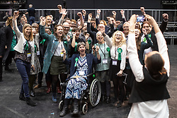 © Licensed to London News Pictures . 26/05/2019. Manchester, UK. Green Party activists celebrate their win . The count for seats in the constituency of North West England in the European Parliamentary election , at Manchester Central convention centre . Photo credit: Joel Goodman/LNP